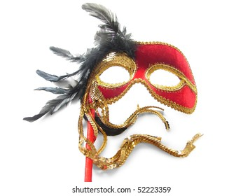 Red Carnival Mask with black feathers. Isolated on white