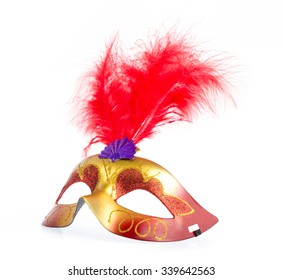 Red Carnival mask isolated on white background