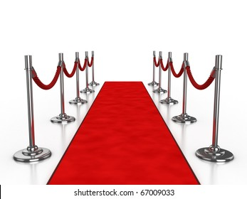 red carpet 3d illustration isolated over white background