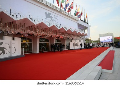 Red carpet ahead of the opening ceremony and the 'First Man' screening during the 75th Venice Film Festival at Sala Grande on August 29, 2018 in Venice, Italy.