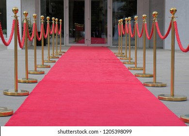 Red carpet between rope barriers with glass door at the end.