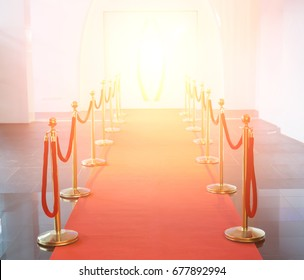 Red carpet between rope barriers in the success party