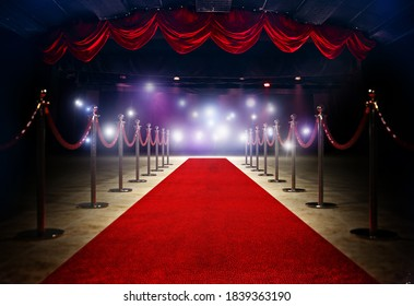 Red Carpet between rope barriersat the end of Stage