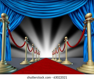 red carpet blue velvet curtain introducing presenting theater stage