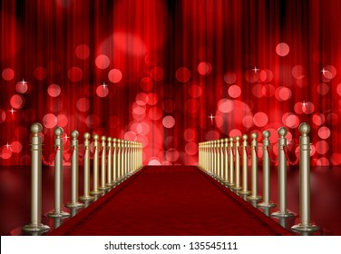 red carpet entrance with the stanchions and the ropes. red Light Burst over curtain