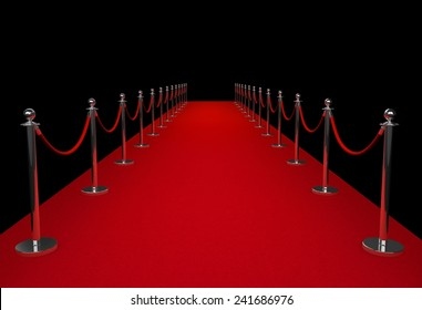 Red carpet isolated on black background