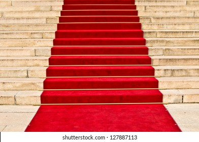 red carpet leading up the stairs