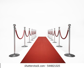 Red carpet lined with stanchions on a white background.3D render image