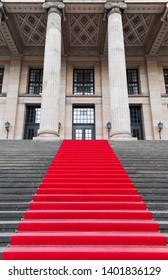 Red carpet on staircase of konzerthaus, Berlin.