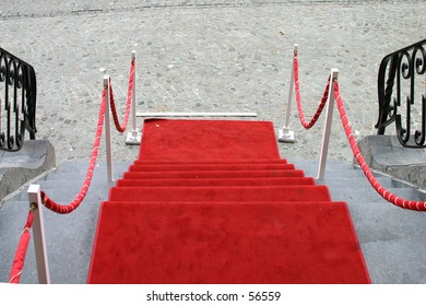 red carpet on a stairs alley