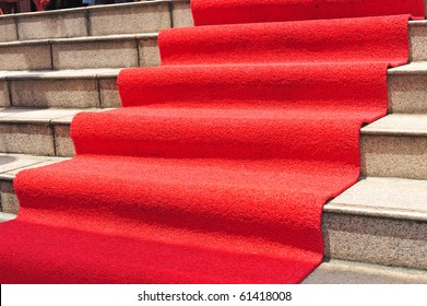 Red Carpet On The Steps Leading To The Doorway
