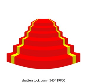 Red carpet on a white background. Stairs for VIP.