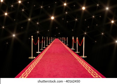 Red carpet with photographer flash
