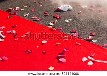 Red Carpet Smoke Rose Petals Stock Photo Edit Now 521141008
