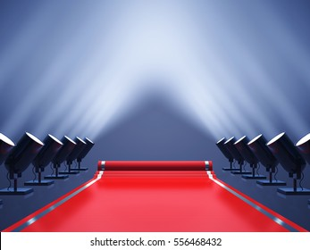 Red carpet with spotlights , Award ceremony , VIP event , 3d illustration