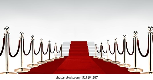 Red carpet with stairs at the end over white