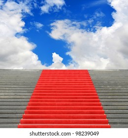 Red carpet stairway leading to heaven