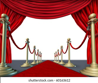 red carpet velvet curtain introducing presenting theater stage