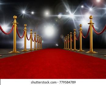 Red carpet and velvet ropes on gala night background. 3D illustration.
