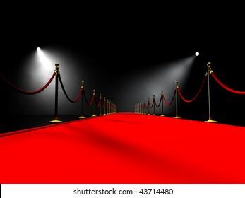 Red carpet in volume light