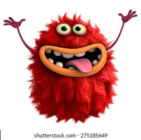red cartoon hairy monster 3d