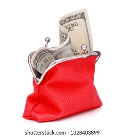 red cash wallet isolated on white background. Charge purse with hundred dollar banknote. Coin wallet.