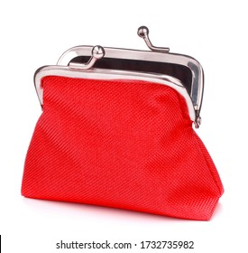 red cash wallet isolated over white background. Charge purse. Open empty coin wallet.