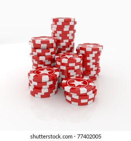 Red Casino chips with stars isolated on white