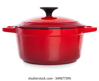 Red cast iron cooking pot with black handle, isolated on white background.