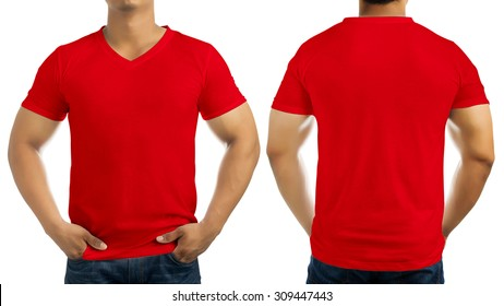 Red casual t-shirt on men's body isolated on white background, front and back.