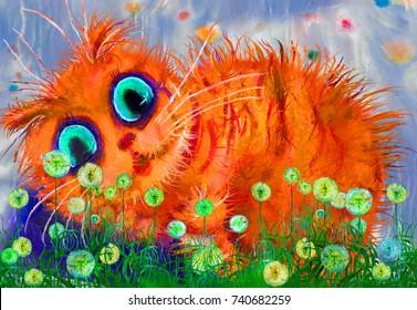 Red cat in dandelions