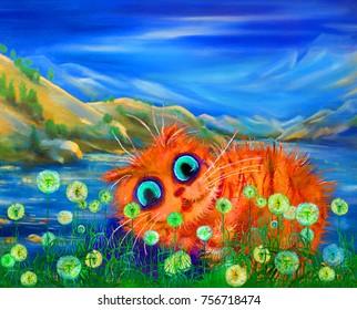 Red cat in dandellions near mountain lake