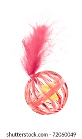 Red Cat Toy with Bell and Feather Isolated on White.
