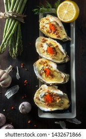 red caviar cheese roasted oysters