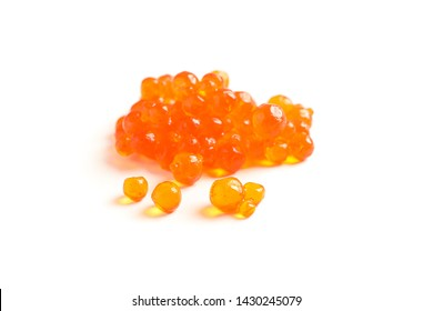 Red caviar isolated on white background, closeup