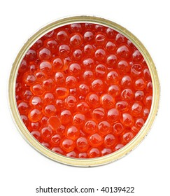 Red caviar in metal tin