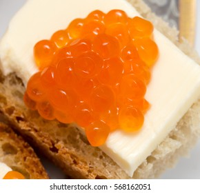 red caviar on a sandwich