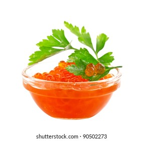 Red caviar with parsley closeup