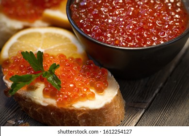 Red caviar sandwich with butter.