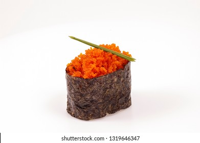 red caviar and sushimi closeup carved on white background