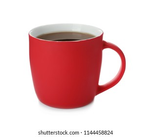 Red ceramic cup with hot aromatic coffee on white background