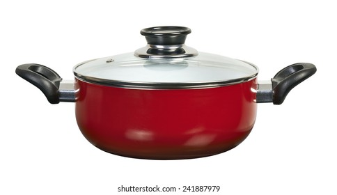 Red ceramic pan with cover with clipping path
