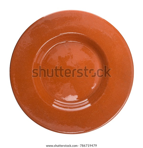 Red ceramic plate isolated on white background.