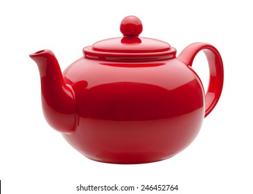 Red Ceramic Teapot isolated on white with a clipping path. The image is in full focus, front to back.