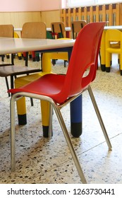 red chair for children inside the school room