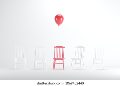 Red chair with floating red balloon among white chairs on white background. minimal idea concept.