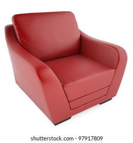 Red chair on a white background