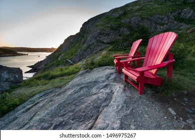 Red chair overlooking The Narrows on Signal Hill, St. John's, Newfoundland