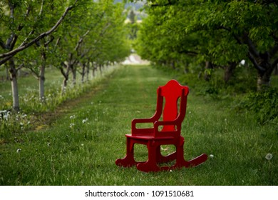 Red chair in the park