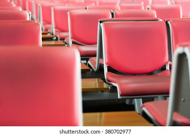 Red chair in the terminal.